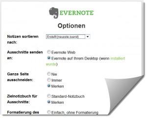 Evernote-einstellungen