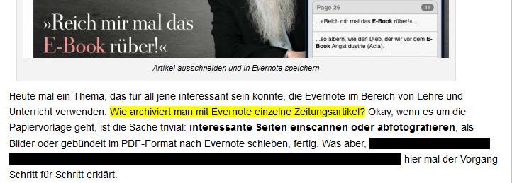 Web-Texte markieren (Firefox) – Evernote für Pfiffige