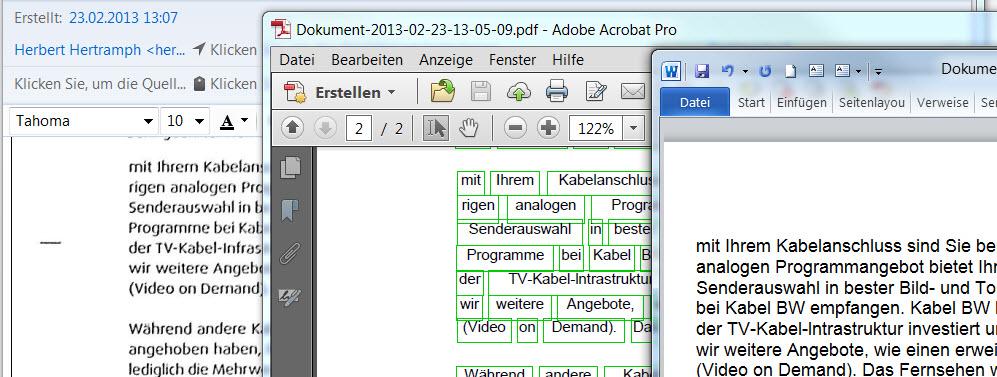 bearbeiten von eingescannten dokument