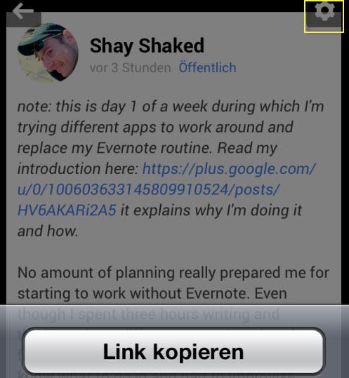 Google+ mit Evernote verbinden (iOS) – Evernote für Pfiffige